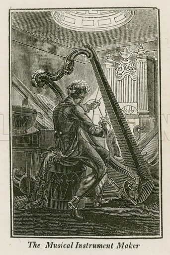 The Musical Instrument Maker. Illustration for The Book of English Trades and Library of the Useful Arts (new edn, J Souter, 1818).
