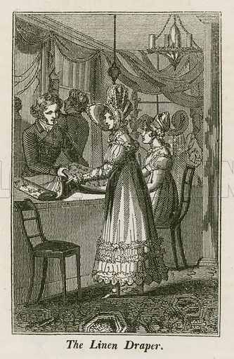 The Linen Draper. Illustration for The Book of English Trades and Library of the Useful Arts (new edn, J Souter, 1818).