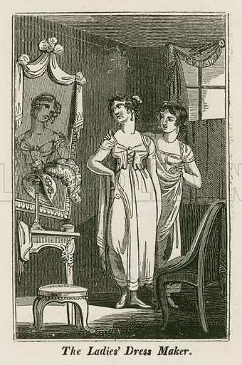 The Ladies' Dress Maker. Illustration for The Book of English Trades and Library of the Useful Arts (new edn, J Souter, 1818).