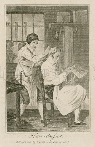Hair-dresser. Illustration for The Book of English Trades and Library of the Useful Arts (new edn, J Souter, 1818).