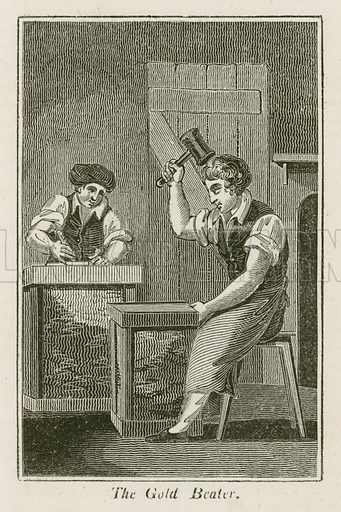The Gold Beater. Illustration for The Book of English Trades and Library of the Useful Arts (new edn, J Souter, 1818).