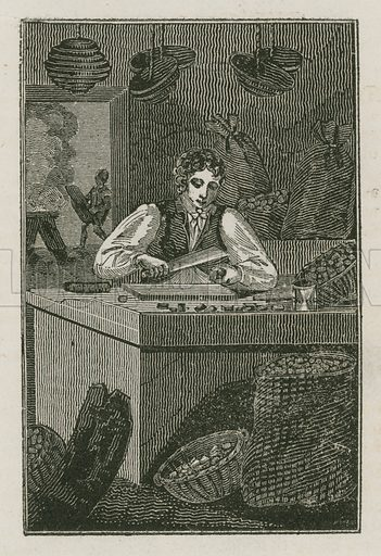 The Cork-Cutter. Illustration for The Book of English Trades and Library of the Useful Arts (new edn, J Souter, 1818).