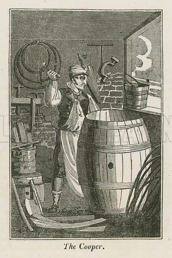 The Cooper. Illustration for The Book of English Trades and Library of the Useful Arts (new edn, J Souter, 1818).