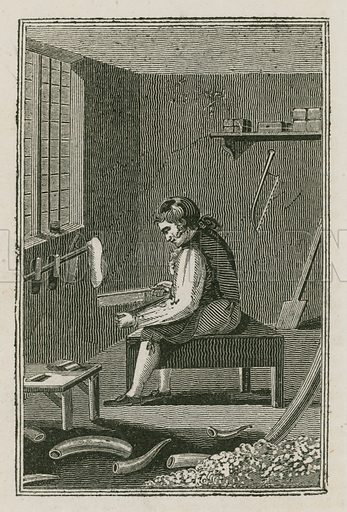 The Comb-maker. Illustration for The Book of English Trades and Library of the Useful Arts (new edn, J Souter, 1818).