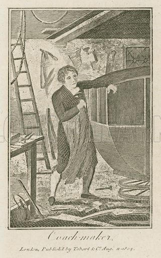 Coach maker. Illustration for The Book of English Trades and Library of the Useful Arts (new edn, J Souter, 1818).