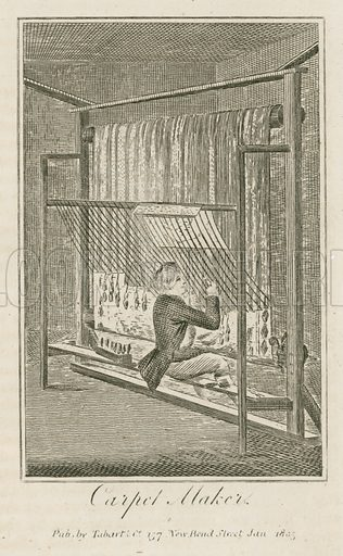 Carpet Maker. Illustration for The Book of English Trades and Library of the Useful Arts (new edn, J Souter, 1818).
