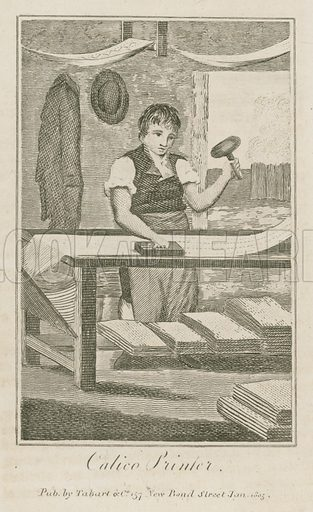 Calico Printer. Illustration for The Book of English Trades and Library of the Useful Arts (new edn, J Souter, 1818).