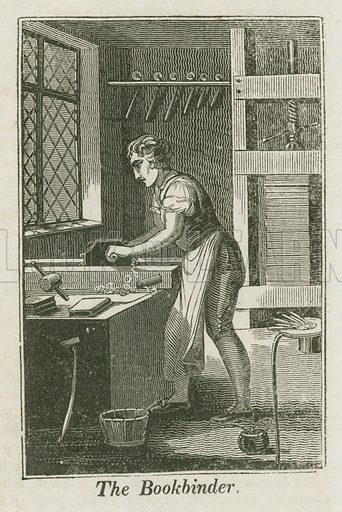 The Bookbinder. Illustration for The Book of English Trades and Library of the Useful Arts (new edn, J Souter, 1818).