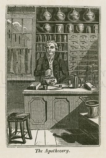 The Apothecary. Illustration for The Book of English Trades and Library of the Useful Arts (new edn, J Souter, 1818).