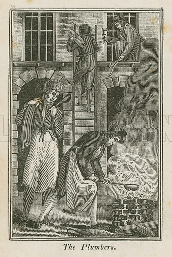 The Plumbers. Illustration for The Book of English Trades and Library of the Useful Arts (new edn, J Souter, 1818).
