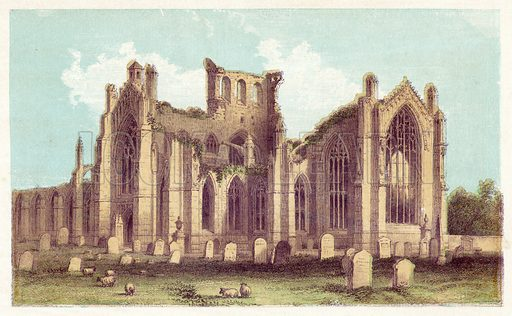 Melrose Abbey. Illustration for Evenings with the Poets and Sketches of their Favourite Scenes (T Nelson, 1866).