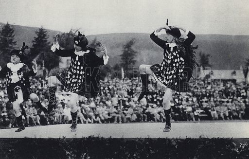 Folk Dancing in Scotland. Illustration for Fair Play, The Games of Merrie England by Rudolf Kircher (W Collins, 1928).