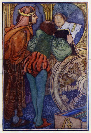 """Princess Rosette. """"You are jesting,"""" said the King of the Peacocks. Illustration for Fairy Tales by Charles Perrault (J M Dent, 1913)."""