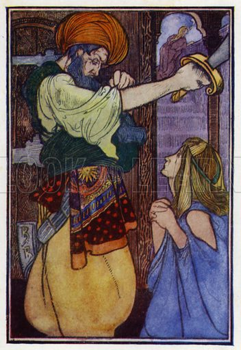 """Blue Beard. """"It's no use, you must die."""" Illustration for Fairy Tales by Charles Perrault (J M Dent, 1913)."""