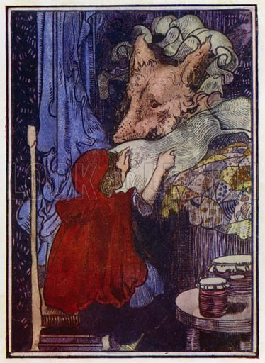 """Little Red Riding-Hood. """"Grandmother, what long ears you have!"""" Illustration for Fairy Tales by Charles Perrault (JM Dent, 1913)."""