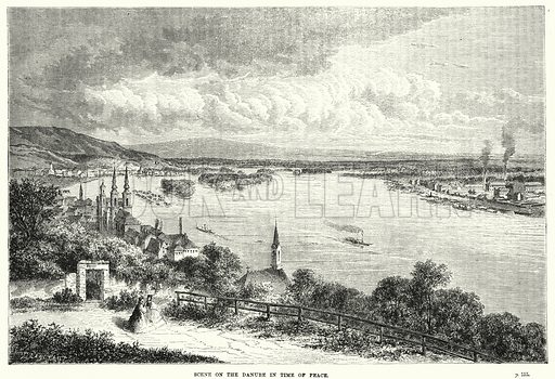 Scene on the Danube in time of peace. Illustration for The Family Friend (1877).