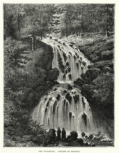 The waterfall, Cascade of Faymont. Illustration for The Family Friend (1877).