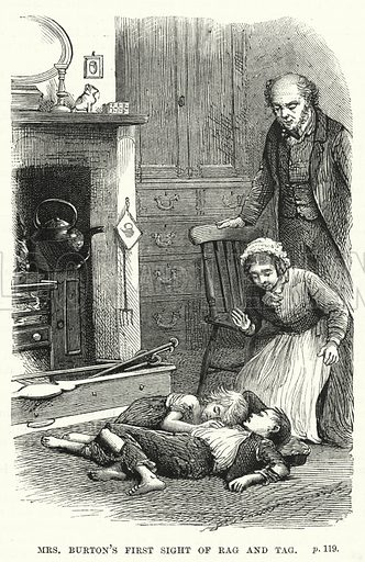 Mrs Burton's first sight of Rag and Tag. Illustration for The Family Friend (1877).