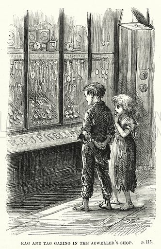 Rag and Tag gazing in the jeweller's shop. Illustration for The Family Friend (1877).
