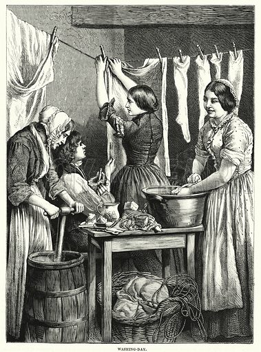 Washing-day. Illustration for The Family Friend (1877).