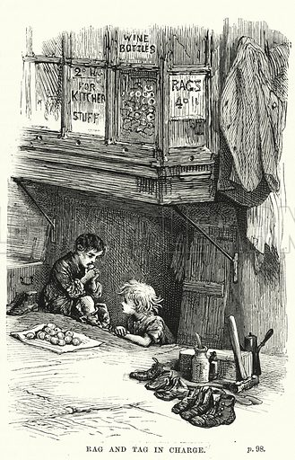 Rag and Tag in charge. Illustration for The Family Friend (1877).