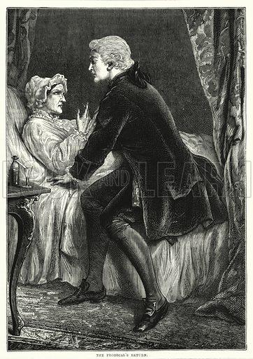 The prodigal's return. Illustration for The Family Friend (1877).