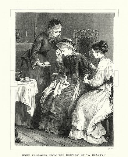 """Some passages from the history of """"A Beauty."""" Illustration for The Family Friend (1877)."""