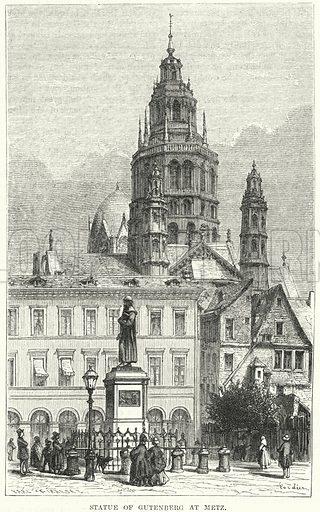 Statue of Gutenberg at Metz. Illustration for The Family Friend (1877).