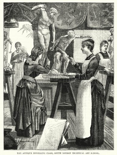 The antique modelling class, South London Technical Art School. Illustration for The Family Friend (1866).