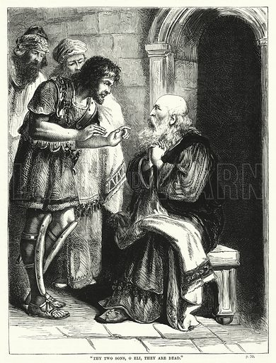 """Thy two sons, o Eli, they are dead."" Illustration for The Family Friend (1866)."