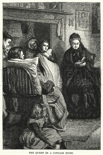 The Queen in a cottage home. Illustration for The Family Friend (1887).