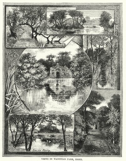 Views in Wanstead Park, Essex. Illustration for The Family Friend (1887).