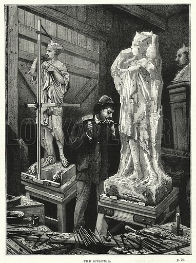 The sculptor. Illustration for The Family Friend (1887).