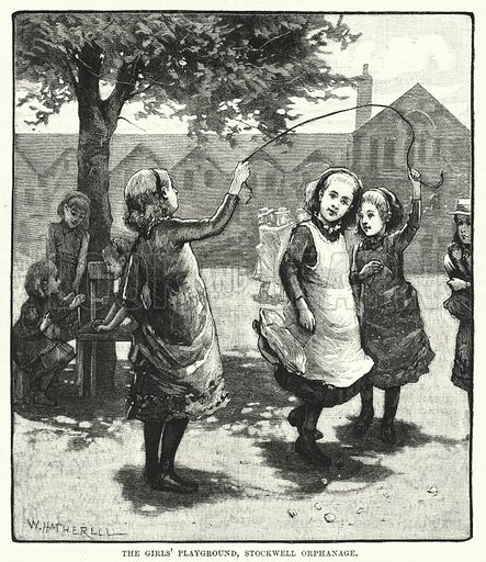 The girls' playground, Stockwell Orphanage. Illustration for The Family Friend (1887).