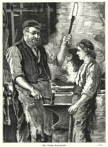 Our village blacksmith. Illustration for The Family Friend (1888).