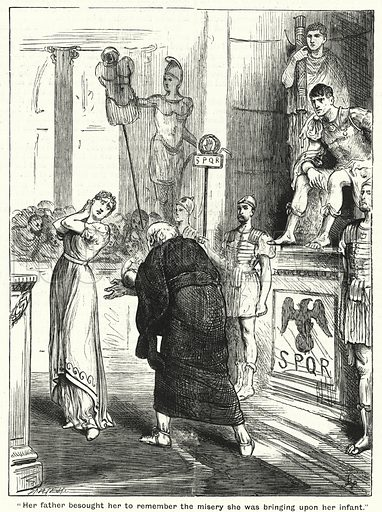 """Her father besought her to remember the misery she was bringing upon her infant."" Illustration for The Family Friend (1888)."