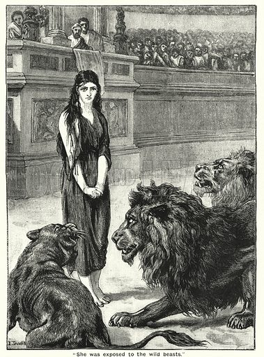 """""""She was exposed to the wild beasts."""" Illustration for The Family Friend (1888)."""