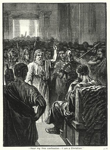 """""""Hear my free confession, 'I am a Christian.'"""" Illustration for The Family Friend (1888)."""