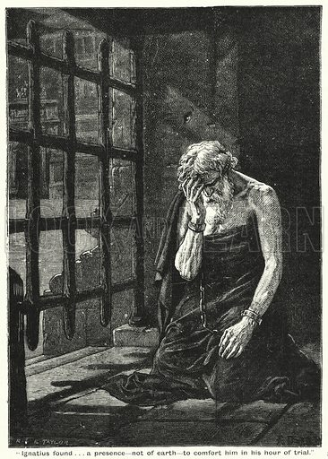 """""""Ignatius found . . . a presence, not of earth, to comfort him in his hour of trial"""". Illustration for The Family Friend (1888)."""