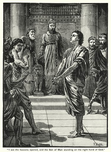 """""""I see the heavens opened, and the Son of Man standing on the right hand of God."""" Illustration for The Family Friend (1888)."""