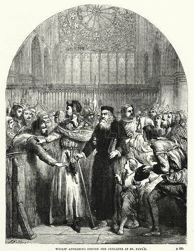 Wyclif appearing before the prelates at St Paul's. Illustration for The Family Friend (1881).