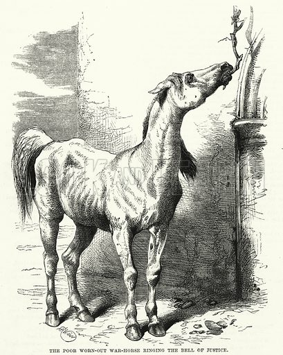 The poor worn-out war-horse ringing the bell of justice. Illustration for The Family Friend (1881).