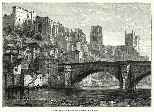 View of Durham Cathedral from the Wear. Illustration for The Family Friend (1881).