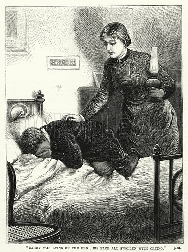 """Harry was lying on the bed, his face all swollen with crying."" Illustration for The Family Friend (1881)."