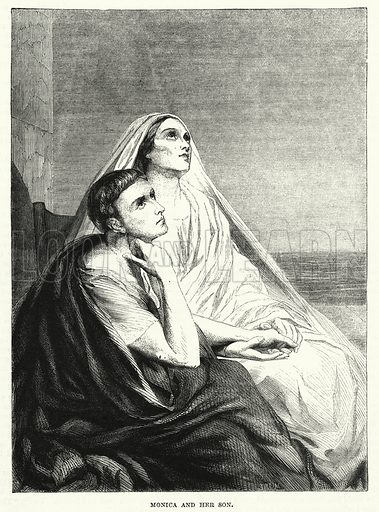 Monica and her son. Illustration for The Family Friend (1881).