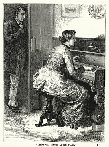 """Hilda was seated at the piano."" Illustration for The Family Friend (1881)."