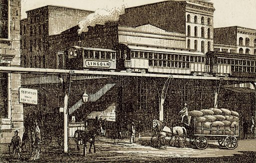 New-York Elevated Railway. Illustration from an unidentified set of views from around the world, c 1885.