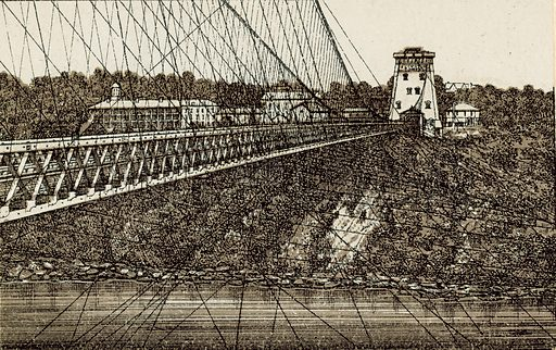 New Suspension Bridge. Illustration from an unidentified set of views from around the world, c 1885.