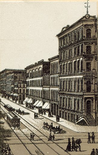 Madison Street. Illustration from an unidentified set of views from around the world, c 1885.
