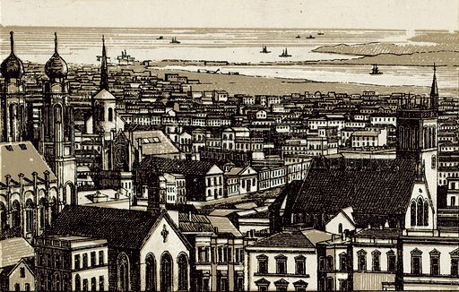 San Francisco. Illustration from an unidentified set of views from around the world, c 1885.